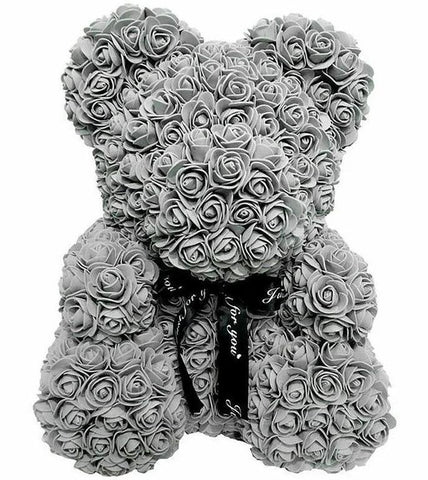 Luxury Grey Rose Teddy Bear