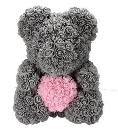 Luxury Grey with Pink Heart Rose Teddy Bear