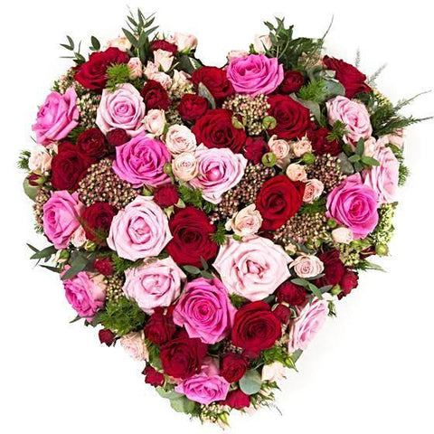 Luxury Pink & Red Roses Heart