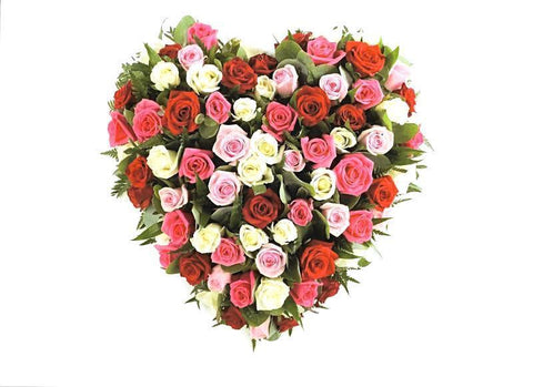 Luxury Pink - White - Red Roses Heart