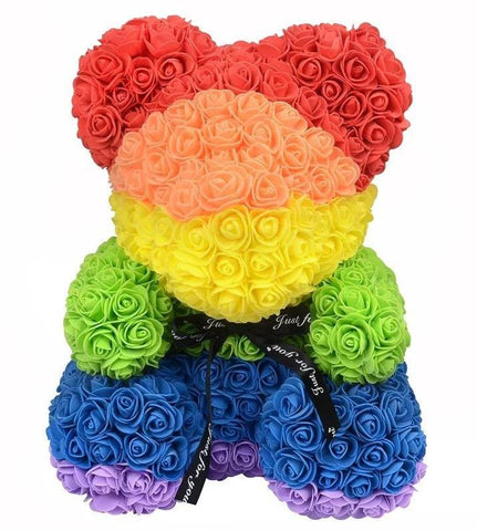 Luxury Rainbow Rose Teddy Bear