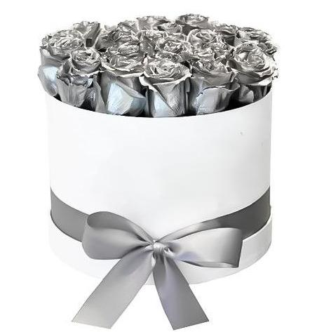 Luxury Silver Roses Hat Box