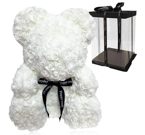 Luxury White Rose Teddy Bear