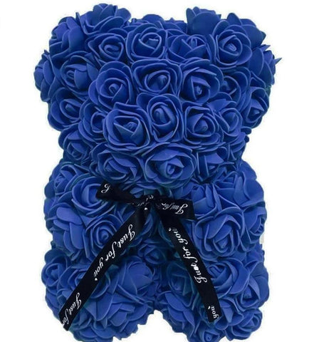 Mini Luxury Navy Blue Rose Teddy Bear
