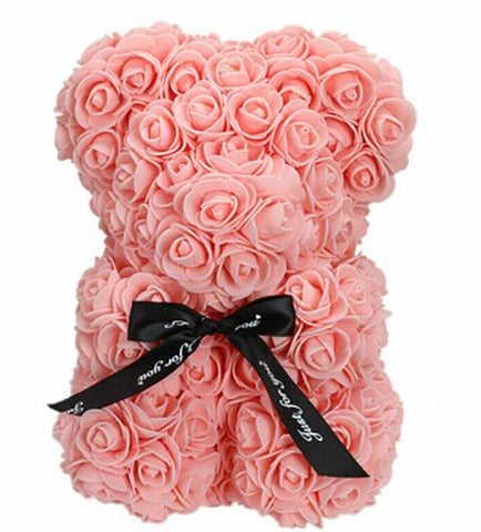Mini Luxury Peach Pink Rose Teddy Bear