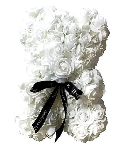 Mini Luxury White Rose Teddy Bear