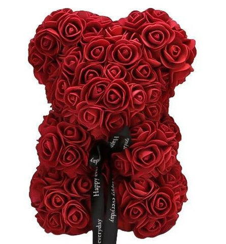 Mini Luxury Wine Red Rose Teddy Bear