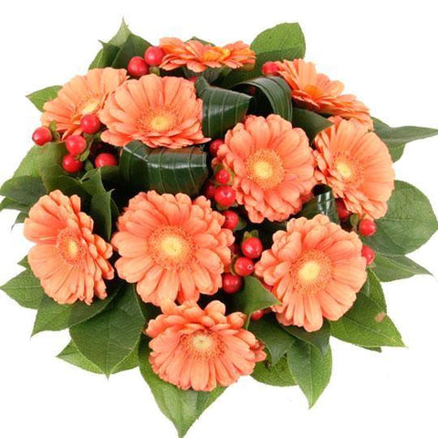 Orange Gerbera with Red Hypericum