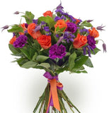 Orange Roses in Purple Bouquet