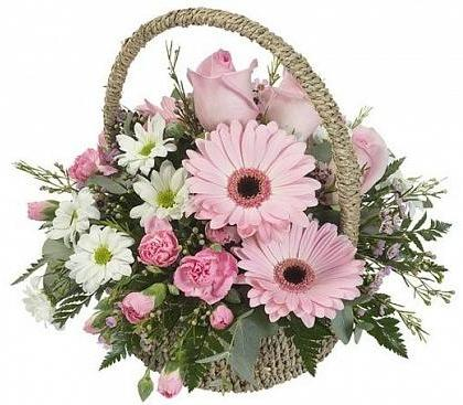 Pastel Flowers in Basket