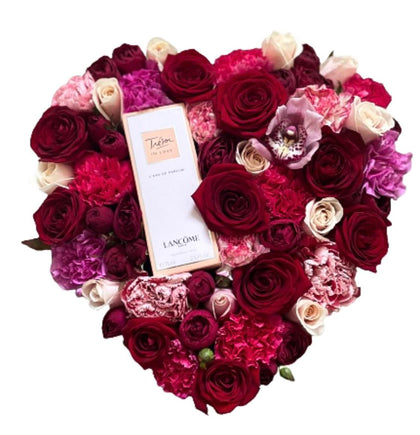 Perfume in Flowers Heart Box
