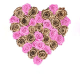 Pink and Gold Roses in Heart Box