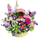 Pink and Purple Flower Basket