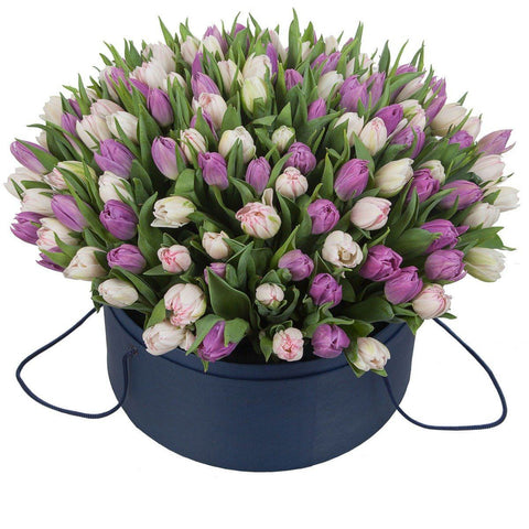 Pink and Purple Tulips Hat Box