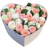 Pink and White Rose in Heart Box