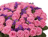 Pink Aqua Roses with Purple Flowers Bouquet