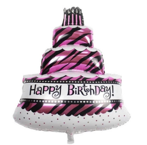 Pink Balloon Birthday Cake 39x23 inch