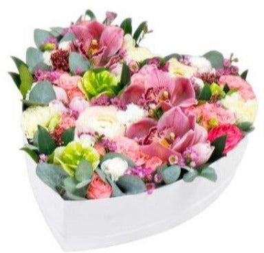 Pink Cymbidium and Tulips Heart Box