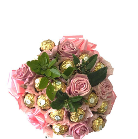 Pink Ferrero Rocher Chocolate Bouquet with Roses