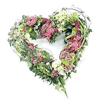 Pink & Green Woodland Open Heart
