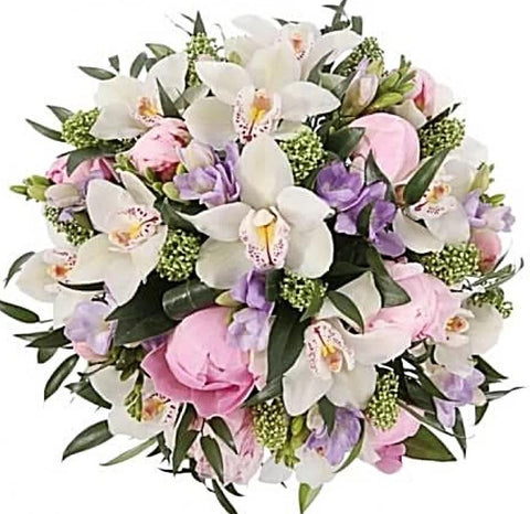 Pink Peonies and Orchids Bouquet