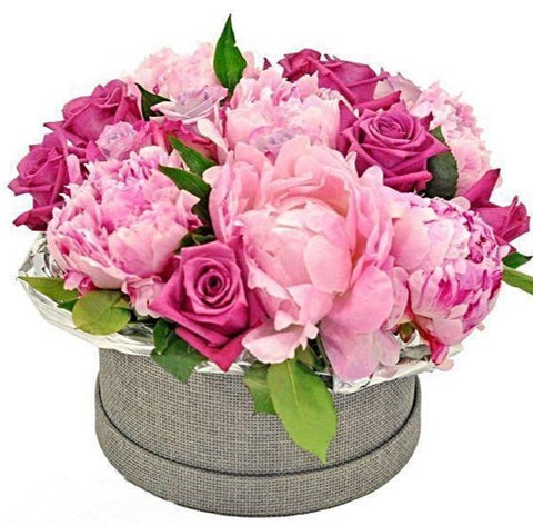 Pink Peony and Roses Hat Box