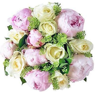 Pink Peony & White Roses