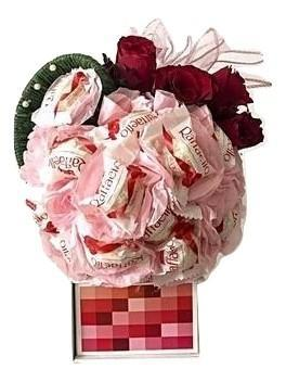 Pink Raffaello Chocolate Bouquet with Roses