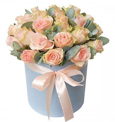 Pink Roses with Eucalyptus Hat Box