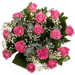 Pink Roses with Gypsophila Bouquet