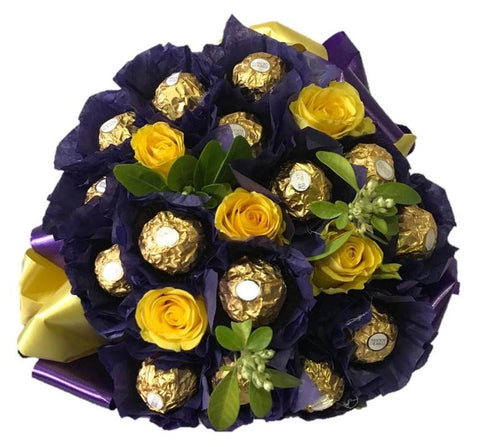 Purple Ferrero Rocher Chocolate Bouquet with Roses