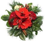 Red Amaryllis and Roses Festive Bouquet