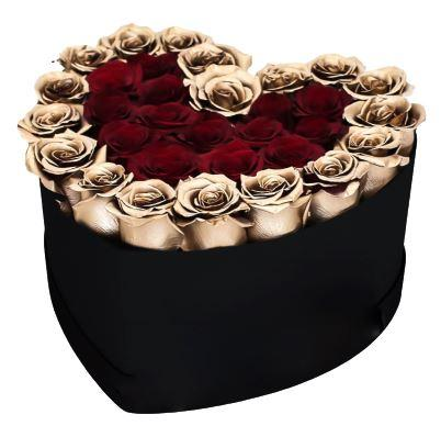 Red and Gold Roses Heart Box
