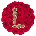 Red and Gold Roses Initial
