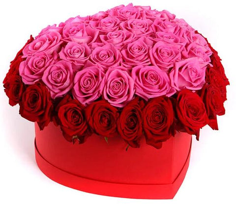 Red and Pink Roses Heart Box