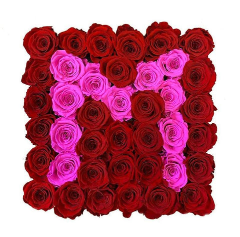 Red and Pink Roses Initial
