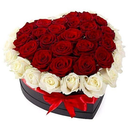 Red and White Roses Heart Box