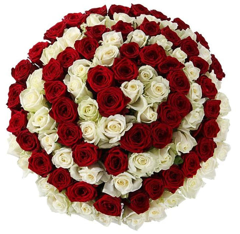 Red and White Spiral Bouquet