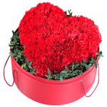 Red Carnations Heart in Hat Box