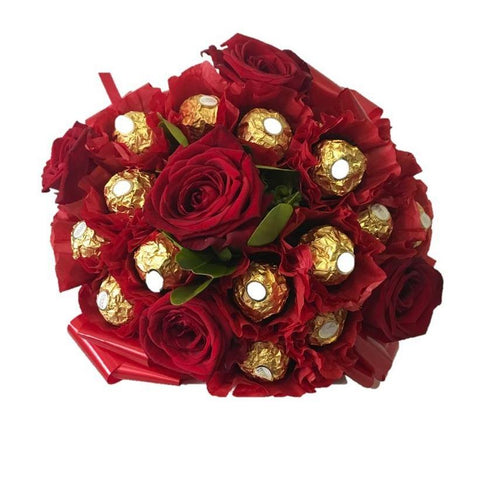 Red Ferrero Rocher Chocolate Bouquet with Roses