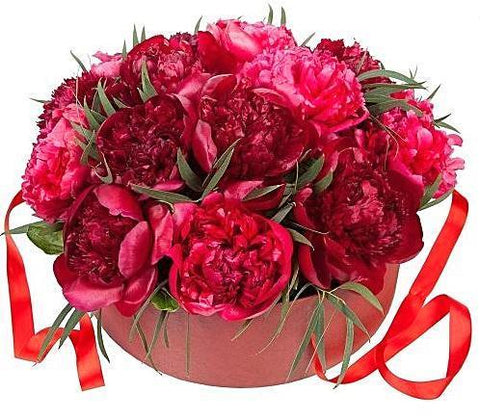 Red Peonies Hat Box