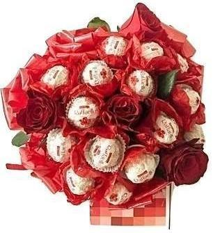 Red Raffaello Chocolate Bouquet with Roses