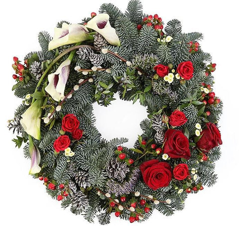 Red Roses Festive Christmas Wreath