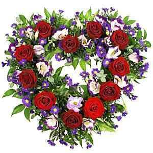 Red Roses & Purple Open Heart