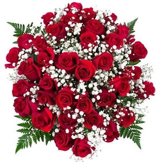 Red Roses with Gypsophila Bouquet