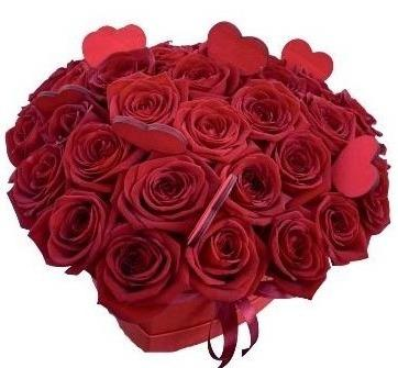 Red Roses with Heart Box