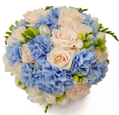 Roses and Blue Hydrangea Bouquet