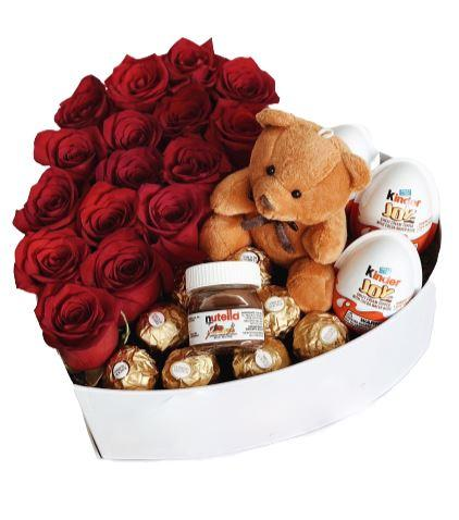 Roses Chocolate and Teddy Box