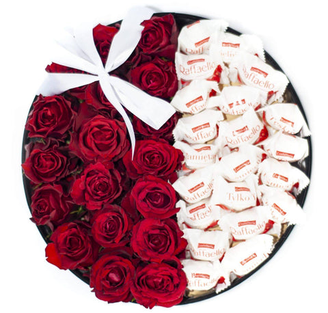 Roses with Chocolates Hat Box