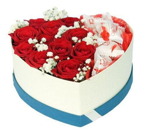 Roses with Gypsophila Chocolate Box